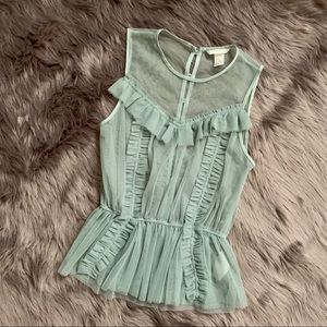 H&M | Mint Green Mesh Ruffle Blouse